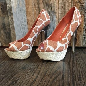 950df97ee5 JustFab Shoes | Giraffe Print High Heels | Poshmark